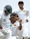 An elated Lasith Malinga gets rid of Javed Omar with a toe-crushing yorker