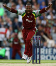 Dwayne Smith celebrates the wicket of Alastair Cook