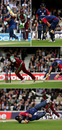 A collage of Kevin Pietersen landing heavily, hurting his knee and being run out for 16, England v West Indies, Twenty20, The Oval, June 28, 2007