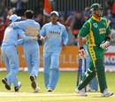 A clueless Jacques Kallis departs after being squared up by Ajit Agarkar