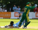 Gautam Gambhir just about makes his ground as Mark Boucher whips the bails