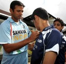 Rahul Dravid signs autographs ahead of the game against Pakistan, Glasgow, July 3, 2007
