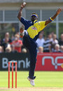 Carl Greenidge stops a return off his bowling, Gloucestershire v Glamorgan, Twenty20 Cup, MidWest/Midlands/Wales Division, Bristol, July 6, 2007
