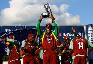 Chris Gayle leads the celebrations after West Indies beat England at Trent Bridge to claim the Natwest Series