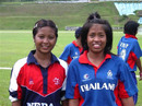 Captains Maya Thapa of Nepal and Sornnarin Tippoch of Thailand after the completion of their match, Thailand Women v Nepal Women, ACC women's tournament, Johar, July 12, 2007