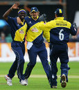 Carl Greenidge is congratulated by Alex Gidman and Steve Adshead after dismissing Phil Jaques, Gloucestershire v Worcestershire, Twenty20 Cup, Bristol, July 17, 2007