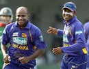 Sanath Jayasuriya and Mahela Jayawardene are delighted at ending the 42-run resistance between Mushfiqur Rahim and Farhad Reza, Sri Lanka v Bangladesh, 1st ODI, Colombo, July 20, 2007