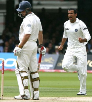Zaheer Khan had Andrew Strauss caught at the slips for 18, England v India, 1st Test, 3rd day, July 21, 2007