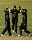 Sarah Burke is congratulated by wicketkeeper Rowan Milburn after dismissing Ellyse Perry, Australia women v New Zealand women, 2nd ODI, Darwin, July 22, 2007