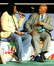 ICC president Ray Mali  is interviewed by Pommie Mbangwa, during the launch of the ICC World Twenty20