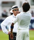 The shoulder-barge attack. Ian Howell has a word with Sreesanth who shoved Michael Vaughan,  England v India, 2nd Test, Trent Bridge, 4th day, July 30, 2007