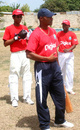 Keith Arthurton conducts a fielding session on the first day of a coaching clinic, Jamaica, July 30, 2007
