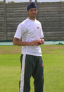 Sukhvir Singh, the winner of the Cricket Star reality show, and member of the Leicester second XI, has a bowl at the nets session of the Indian team, Grace Road, August 2, 2007