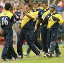 Mark Hardinges and his team-mates celebrate the wicket of Mark Chilton, Gloucestershire v Lancashire, Twenty20 Cup, 1st semi-final, Edgbaston, August 4, 2007