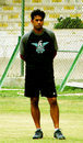 Aaqib Javed supervises bowling practice at the camp, National Stadium Karachi, August 2, 2007