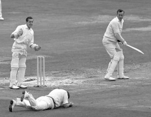 Bob Broadbent catches Ted Dexter, Sussex v Worcestershire, Lord's, September 7, 1963