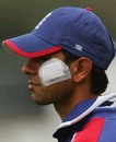 Vikram Solanki sports a bandage after bruising his cheek from a Zaheer Khan bouncer, England Lions v Indians, ODI warm-up, Northampton, August 18, 2007