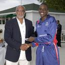 Ramon Sealy of Cayman Islands receives the Player-of-the-Tournament award from Hon. KR (Randy) Horton, Minister for Sports, Bermuda, Under-19 Americas Qualifiers, Toronto, August 19, 2007