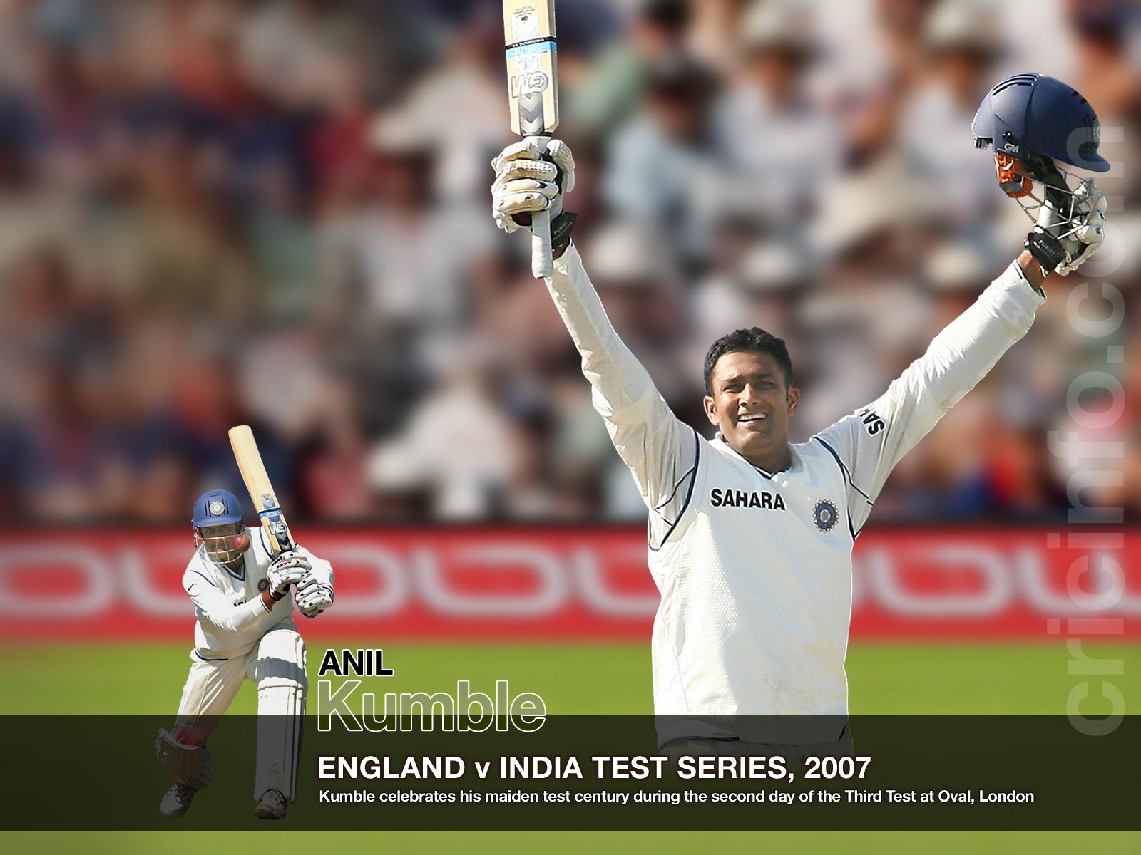 Kumble Celebrates His Maiden Test Century Cricket Wallpapers