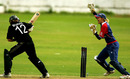 Sarah Burke is cleaned up by Isa Guha, England v New Zealand, 5th women's ODI, Blackpool, August 27, 2007