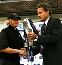 Haidee Tiffen receives the series trophy from John Carr, the ECB's director of cricket, England Women v New Zealand Women, 6th ODI, Shenley, August 30, 2007