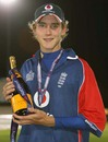 Man-of-the-Match Stuart Broad with the champagne, England v India, 4th ODI, Old Trafford, August 30, 2007