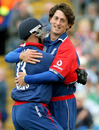 Jon Lewis and  Matt Prior celebrate the wicket of Sachin Tendulkar