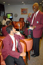 West Indies captain Ramnaresh Sarwan speaking to manager Mike Findlay as the side sets off for South Africa, Barbados, September 3, 2007
