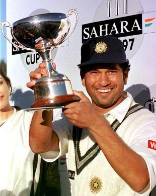 Sachin Tendulkar with the Sahara Cup after beating Pakistan 4-1, India v Pakistan, 5th ODI, Toronto, September 21, 1997