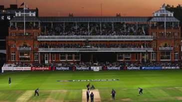The Lord's pavilion in twilight during the old ground's first floodlit match