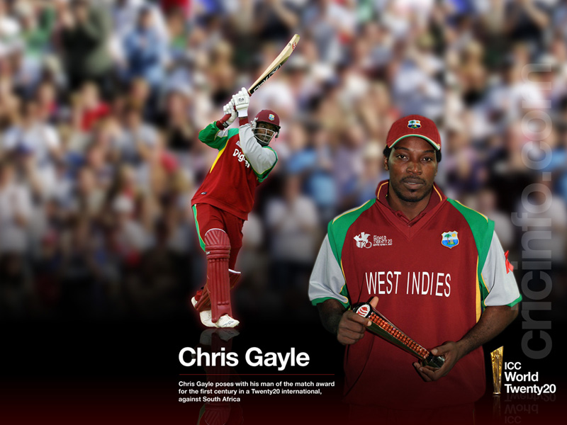 Chris Gayle with the Player-of-the-match trophy