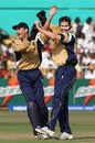 Craig Wright and Colin Smith celebrate the wicket of Shahid Afridi, Pakistan v Scotland, Group D, ICC World Twenty20, Durban, September 12, 2007