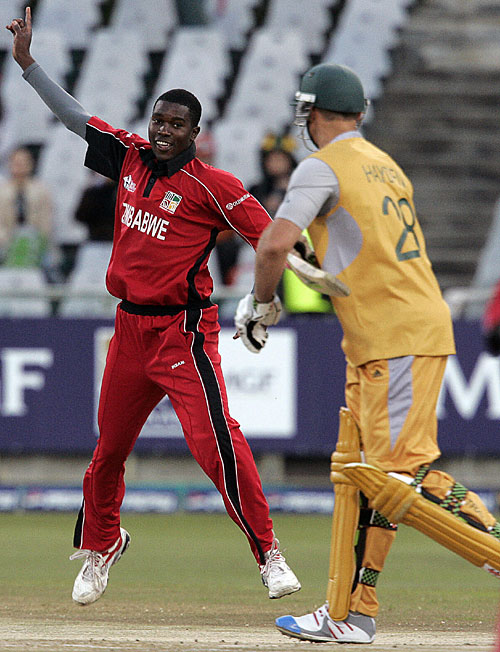 Elton Chigumbura celebrates the dismissal of Matthew Hayden