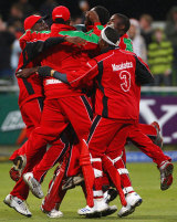 An ecstatic Zimbabwe side after their five-wicket win over Australia, Australia v Zimbabwe, ICC World Twenty20, Group B, Cape Town, September 12, 2007