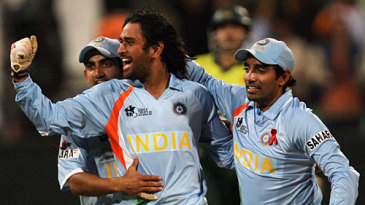Mahendra Singh Dhoni is ecstatic after winning his first international match as captain