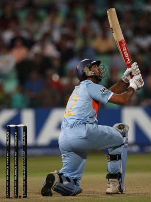 Yuvraj thunders the fifth of his six sixes in an over against England in Durban in 2007