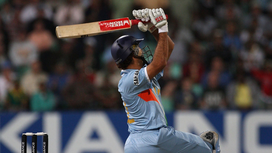 Yuvraj Singh hits the sixth of his six sixes in a single over