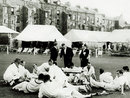 "Drinks break: North v South at Scarborough, when Ted Lester, on a pair, was given a ball by Alec Bedser to get off the mark and he hit it for six. ""The chap serving tea usually had a bottle of whisky with him, too,"" recalls Lester, Scarborough, September 1948"