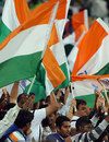 Indian fans wave the national flag, India v South Africa, Group E, ICC World Twenty20, Durban, September 20, 2007