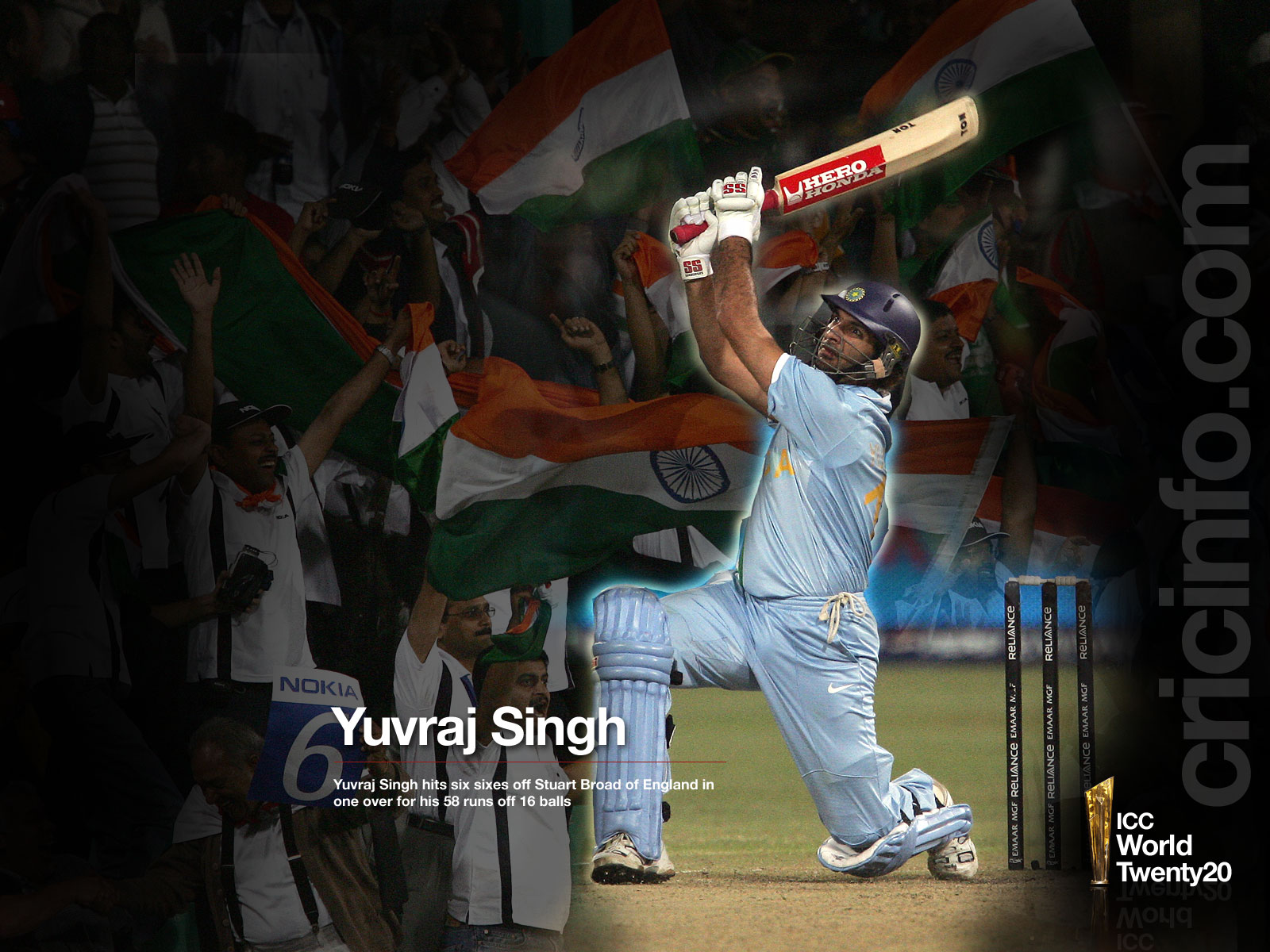 Yuvraj on his way to hit six sixes in an over