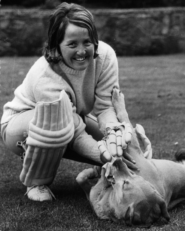 Rachael Heyhoe-Flint at home with her family's pet labrador, April 12, 1973