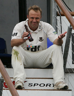 Chris Adams relaxes in front of the pavilion after beating Worcestershire, Sussex v Worcestershire, Hove, September 21, 2007