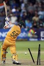 Brett Lee is cleaned up by Joginder Sharma,  Australia v India, 2nd semi-final, ICC World Twenty20, Durban, September 22, 2007