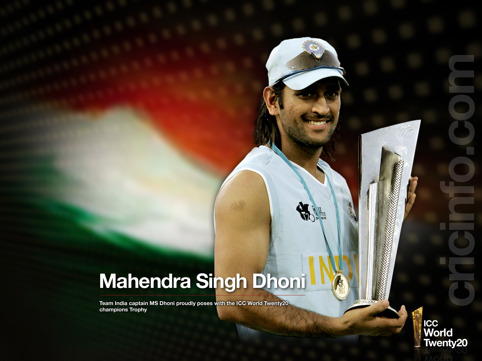 MS Dhoni Poses With The T20 Trophy
