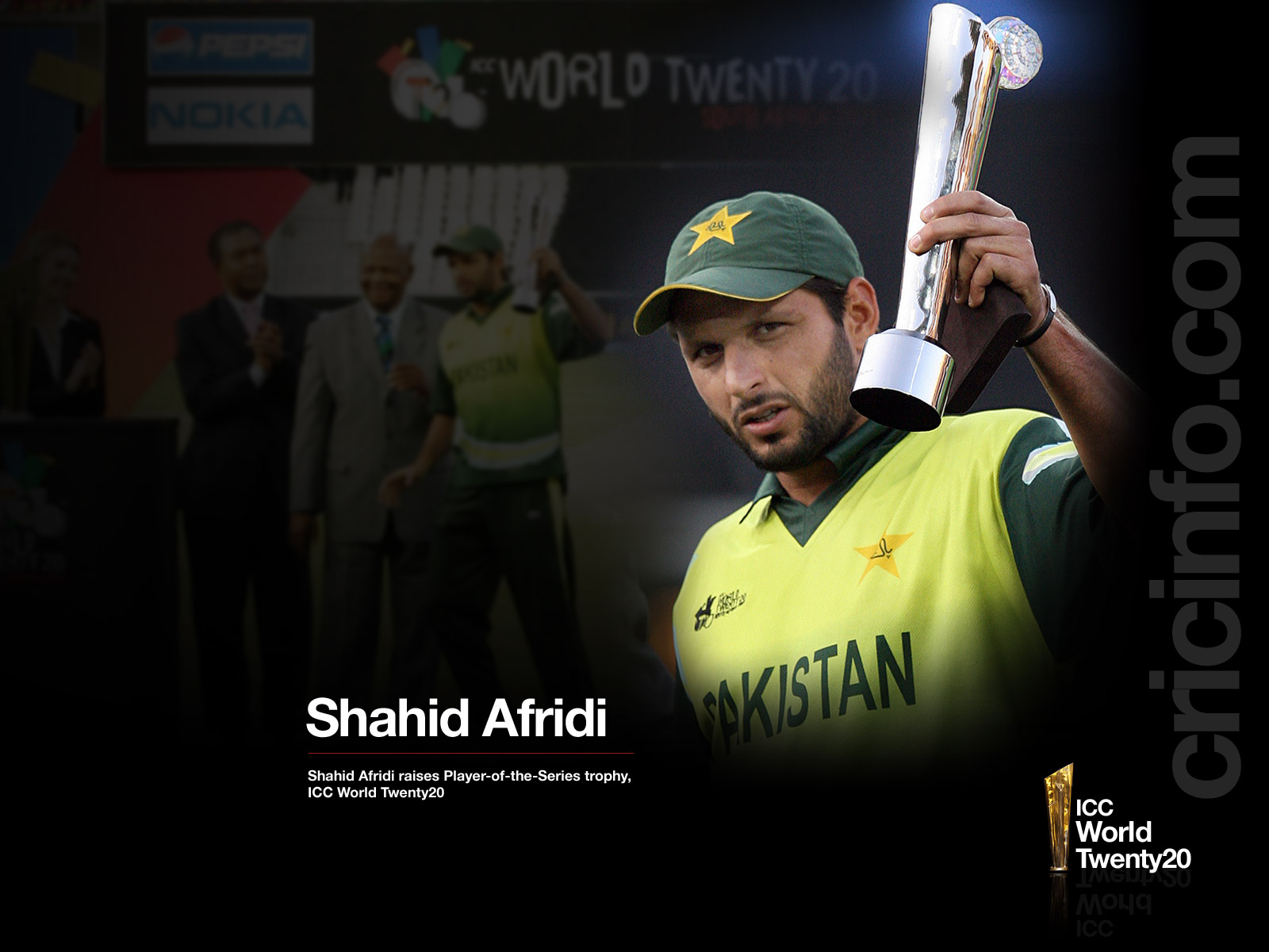 Shahid Afridi With The Player Of Series Trophy