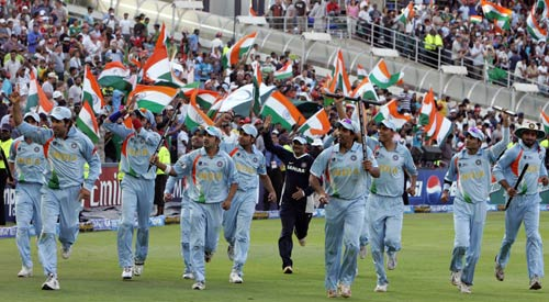 The flag bearers: Indian team celebrate their victory over Pakistan
