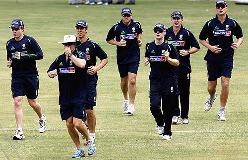The Australian players take a jog during practice, India v Australia ODI series, M Chinnaswamy Stadium, Bangalore, September 27, 2007