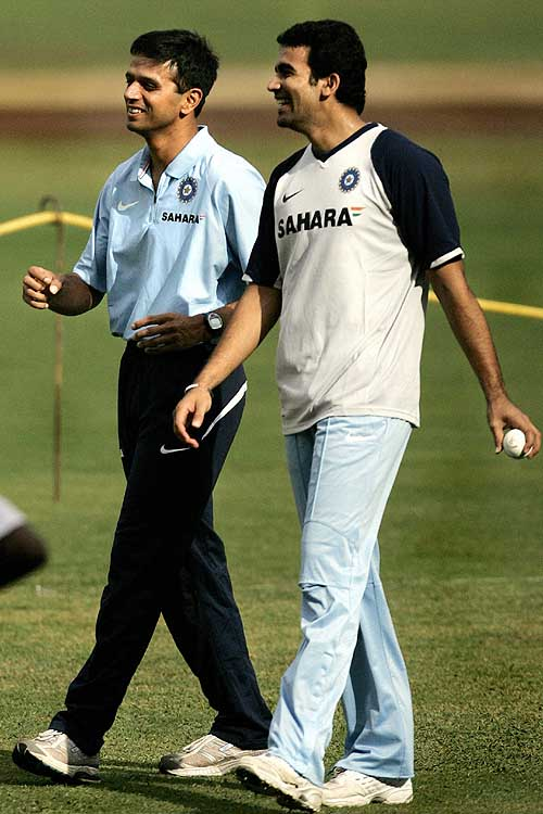 Rahul Dravid and Zaheer Khan share a laugh during nets, India v Australia ODI series, M Chinnaswamy Stadium, Bangalore, September 27, 2007