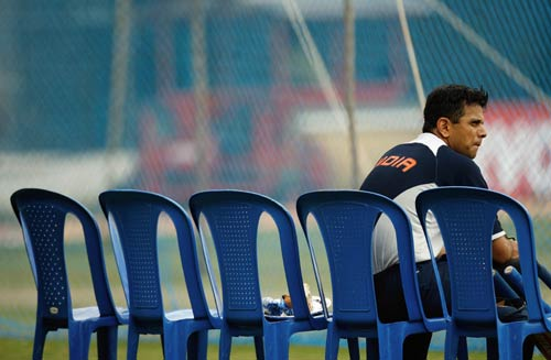 Will the musical chairs of Indian captaincy continue Rahul Dravid rests during practice, Bangalore, September 27, 2007