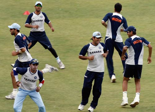 Hop, skip and jump: Indian players warm-up before the nets session, India v Australia ODI series, M Chinnaswamy Stadium, Bangalore, September 28, 2007